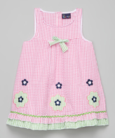 Sweet & Soft Pink & Green Seersucker Flower Dress - Kids