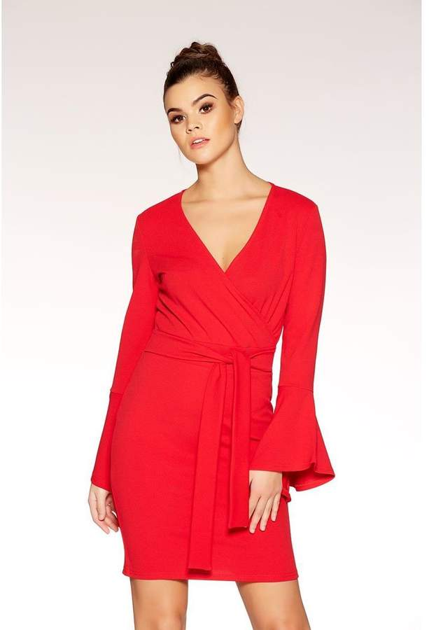 Quiz Red Crepe Wrap Front Frill Sleeve Dress