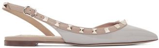 Valentino Grey Garavani Patent Rockstud Slingback Ballerina Flats