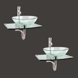 """The Renovators Supply Inc. Metal/Glass 25"""" Wall Mount Bathroom Sink with Faucet The Renovators Supply Inc."""