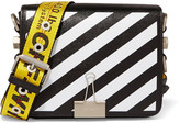 Off-White Striped Textured-leather Shoulder Bag - Black
