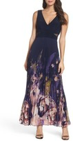 Xscape Evenings Petite Women's Floral Border A-Line Chiffon Gown