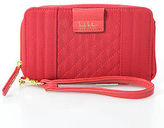Nicole Miller Red Stitched Zip Around Wristlet Handbag