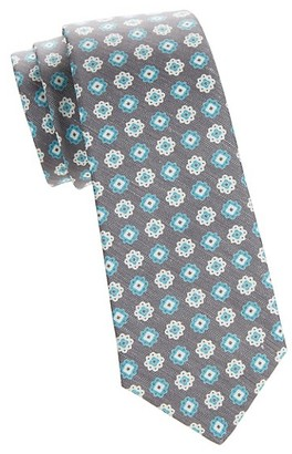 Kiton Textured Floral Silk Linen Tie