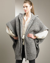 Zip-Front Boucle Poncho