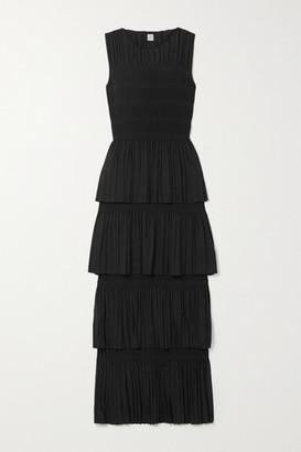 Totême Aramon Tiered Shirred Voile Maxi Dress - Black