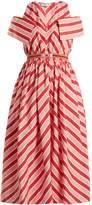 Fendi Striped off-the-shoulder cotton-poplin dress