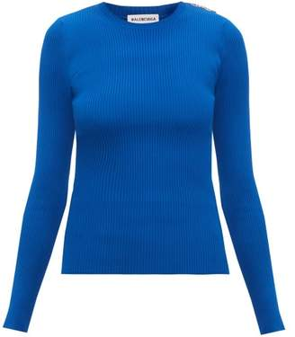 Balenciaga Logo-tab Ribbed Sweater - Womens - Blue