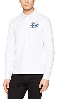 La Martina Men's Man Polo L/s Piquet Stretch Shirt, (Optic White 00001)
