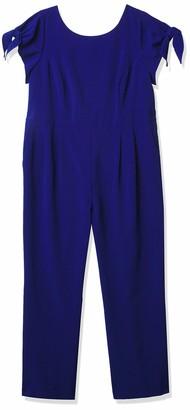 Jessica Howard JessicaHoward Women's Plus Size Tie Sleeve Jumpsuit