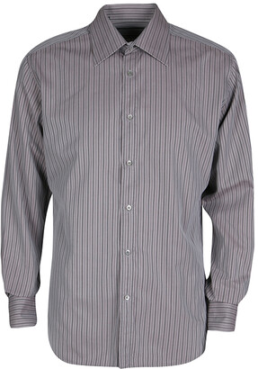 Gucci Grey Striped Cotton Long Sleeve Button Front Shirt XL