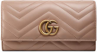Gucci GG Marmont Medium Quilted Flap Wallet, Beige