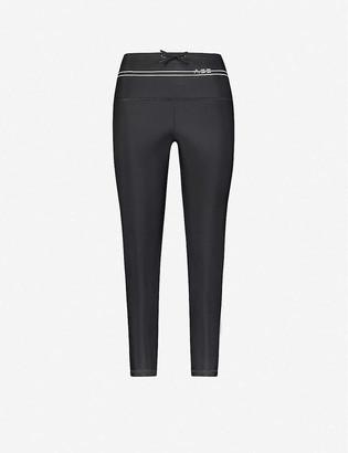 Adam Selman Sport Cropped high-rise skinny logo-trim stretch-woven leggings