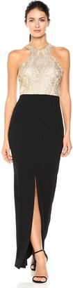 Calvin Klein Women's Long Dress with Embroidered Bodice