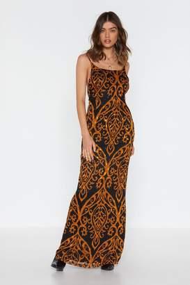 Nasty Gal Womens Go Long Printed Maxi Dress - black - 10
