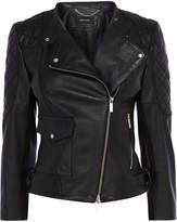 Karen Millen Black Leather Biker Jacket