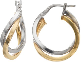 Primavera Two Tone 24k Gold Over Silver Interlocking Hoop Earrings