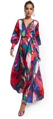 New York & Co. Petite Purple Faux Wrap Maxi Dress