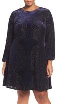 Eliza J Plus Size Women's Burnout Velvet A-Line Dress