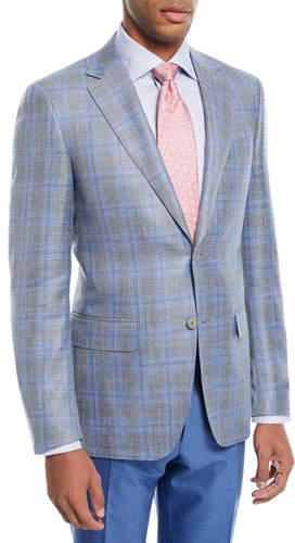Canali Wool-Blend Plaid Two-Button Blazer