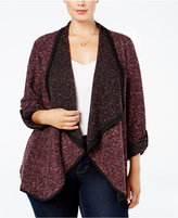 NY Collection Plus Size Open-Front Textured Sweater Jacket