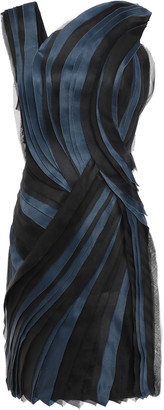 Lanvin Pleated Silk-organza And Satin Mini Dress