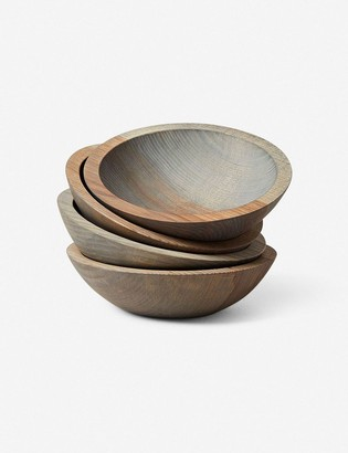 """Lulu & Georgia Farmhouse Pottery Crafted 7"""" Wooden Bowls, Grey (Set of 4)"""