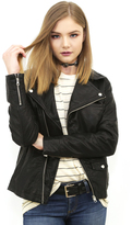 West Coast Wardrobe Abbot Kinney Leatherette Moto Jacket in Black