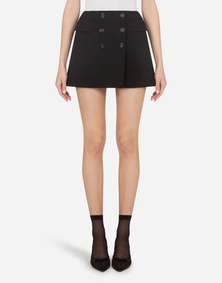 Dolce & Gabbana Mini Skirt In Wool Canvas