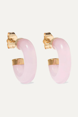 Loren Stewart - 14-karat Gold Rose Quartz Hoop Earrings - Pink