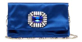 Jimmy Choo Titania Crystal Embellished Satin Clutch - Womens - Blue