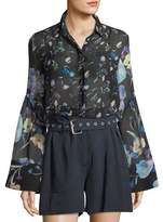 3.1 Phillip Lim Bell-Sleeve Button-Down Floral-Print Silk Chiffon Blouse