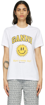 Ganni White Cotton Sun T-Shirt