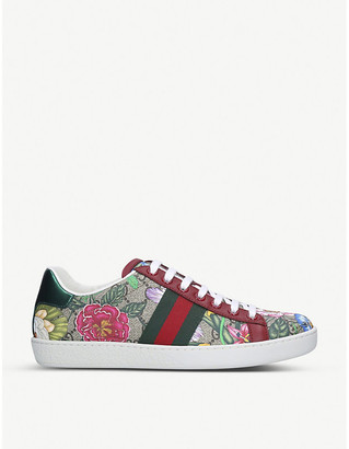 Gucci New Ace floral-print leather trainers