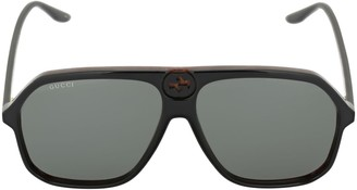 Gucci Gg0734s Logo Acetate Mask Sunglasses