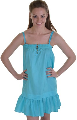 Dannii Matthews Lightweight Ladies Cotton Strappy Beach Pool Dress with Broderie Edge & Gold Buttons