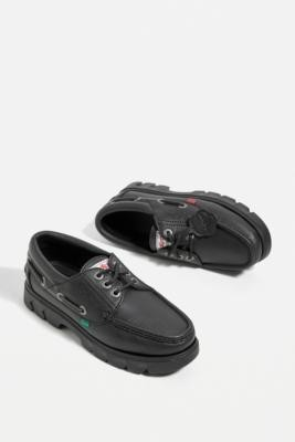 Kickers Black Lennon Boat Shoes - Black UK 4 at Urban Outfitters