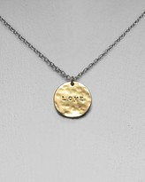 Women's Single Love Hammered Disc Necklace, 16