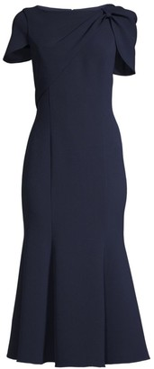 Shoshanna Bess Caped-Sleeve Dress