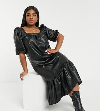 ASOS DESIGN Curve leather look square neck midi trapeze dress with peplum hem in black