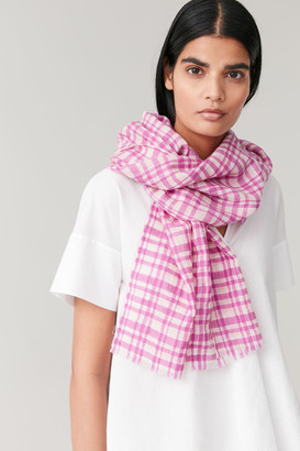 Cos Checked Wool Scarf