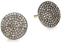 Nina Gilin Women's 14K Black Rhodium Silver & Champagne Diamond Stud Earrings