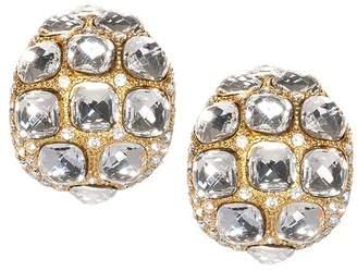 Kenneth Jay Lane Crystal Dome Clip Earrings