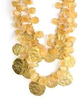 Kenneth Jay Lane 2 Row Hammered Gold Disc With Citrine Beads Accents-Gorgeous!!