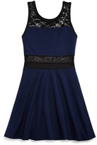 Aqua Girls' Lace & Mesh Trimmed Knit Dress - Sizes S-XL - 100% Exclusive