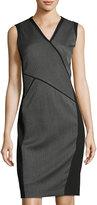 T Tahari Paneled Sheath Dress, Gray/Black