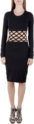 Jean Paul Gaultier Soleil Black Cotton Jersey Distressed Waist Bodycon Dress S