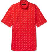 Balenciaga Button-Down Collar Printed Cotton-Poplin Shirt