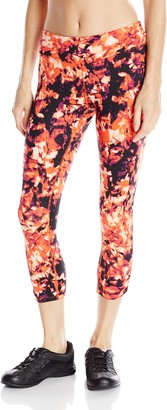 Kensie Performance Women's Shadow Fronds Print Crop Legging