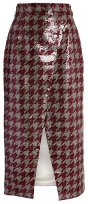 Rodarte Sequin Houndstooth Check Pencil Skirt